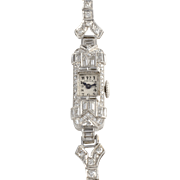 Swiss Ladies Platinum and Diamond Wrist Watch by Battle for Touchon