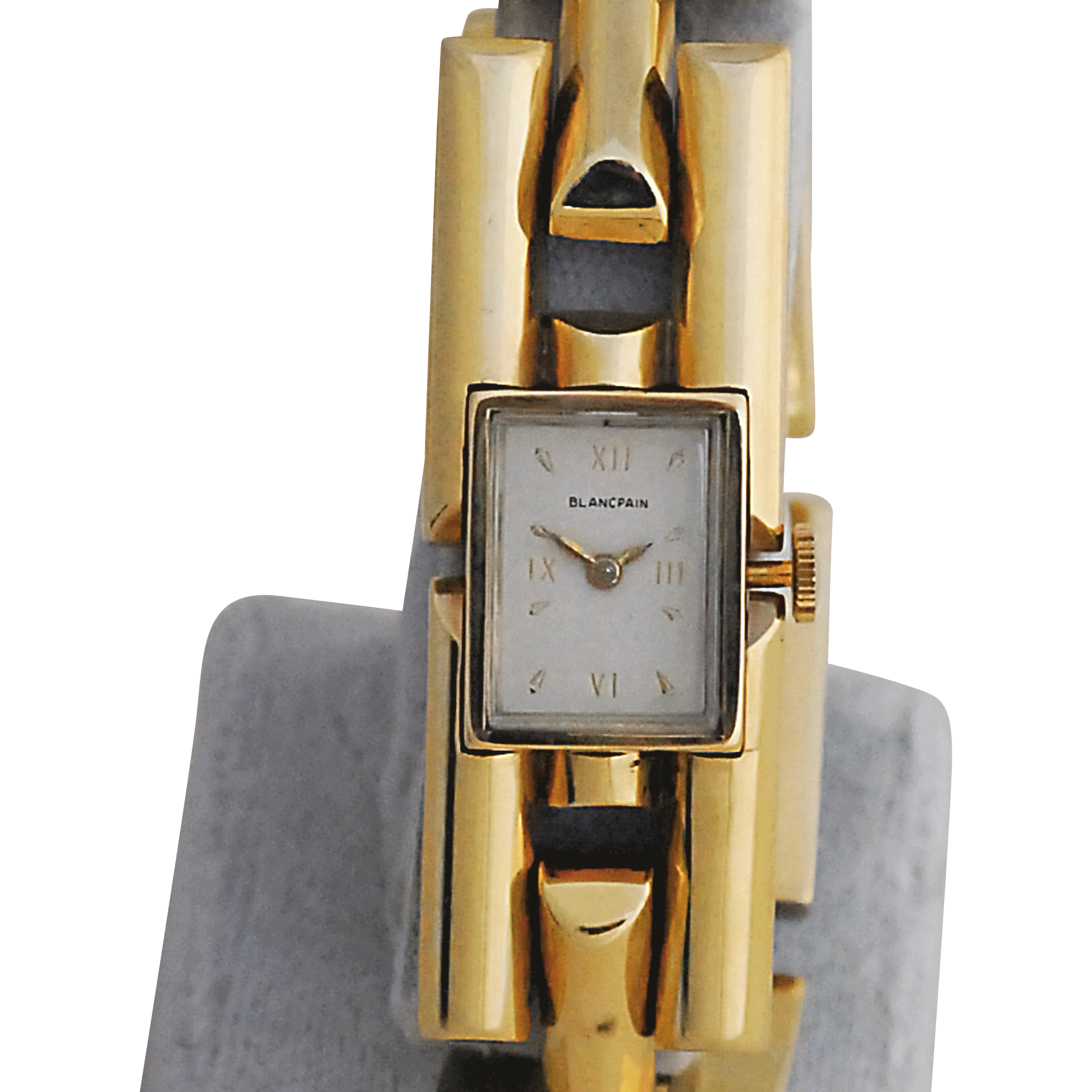Ladies Wrist Watch by Blancpain with 14 Karat Gold Heavy Bar Link Band