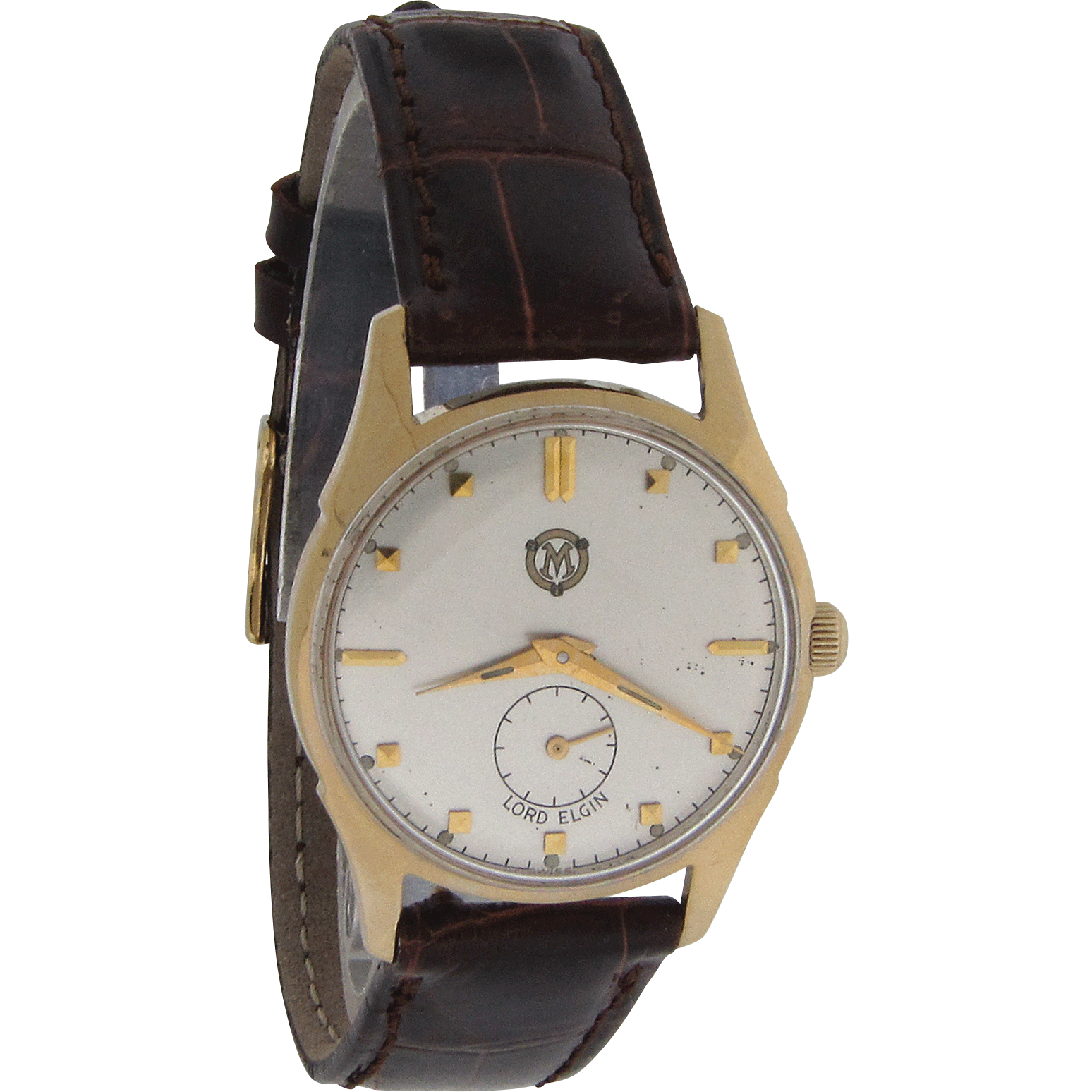 Mens Round 14K Gold Case Wrist Watch by Lord Elgin