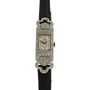 Art Deco Ladies Wrist Watch by Shreve & Co. in Platinum