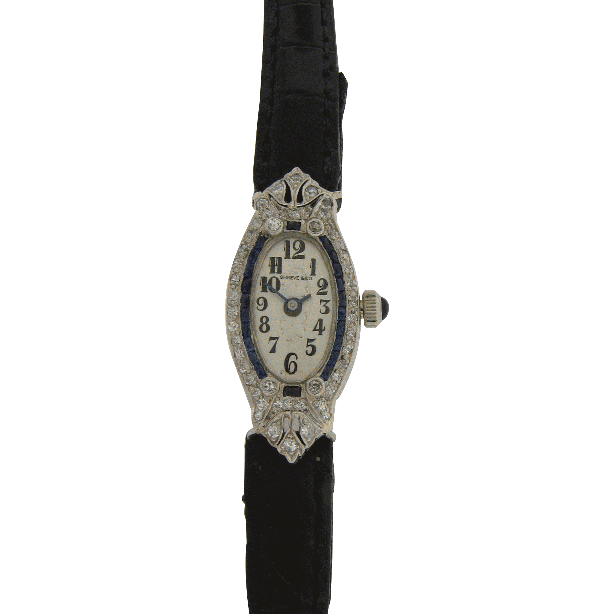 Ladies Diamond and Sapphire Wrist Watch by Shreve & Co