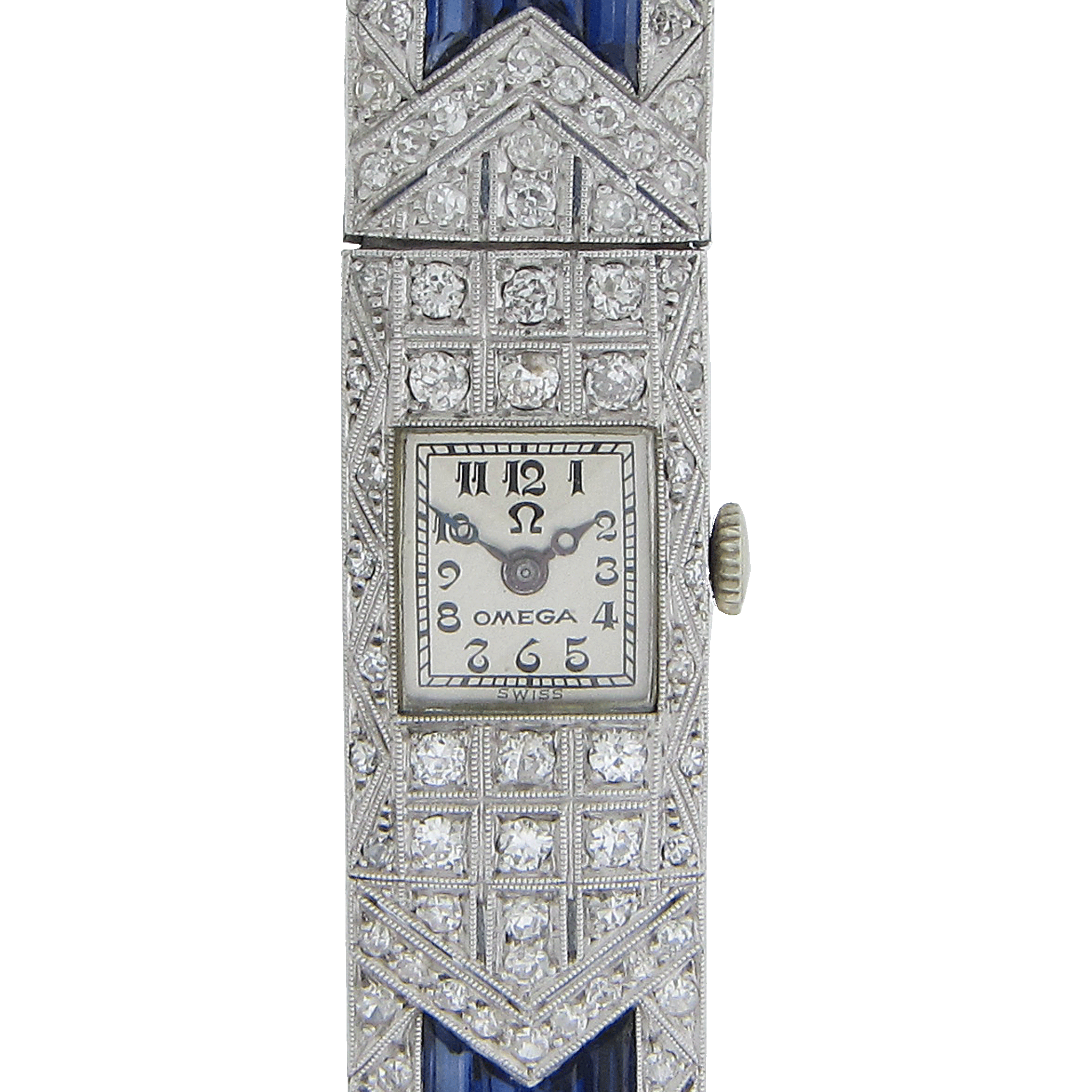 Ladies Art Deco Diamond and Sapphire Wrist Watch by Omega