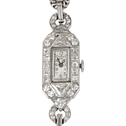 Ladies Platinum and Diamond Art Deco Wrist Watch by Tiffany