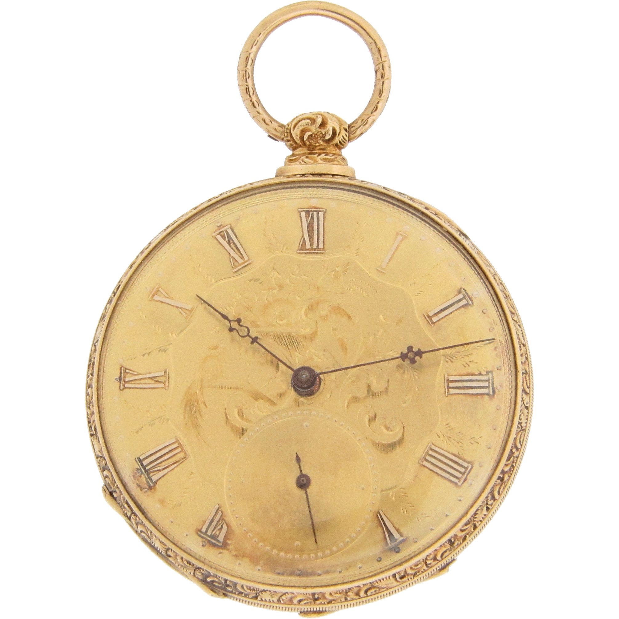 Swiss 18 Karat Yellow Gold Pocket Watch by M J Tobias