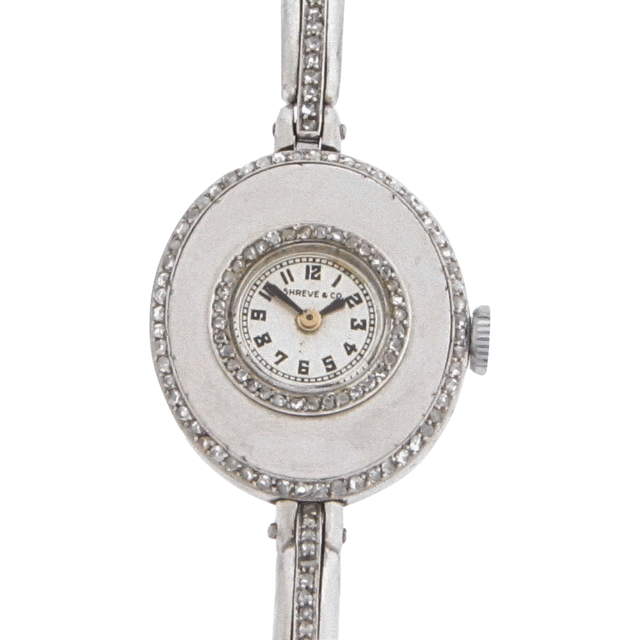 Swiss Ladies Platinum Diamond Wrist Watch by Shreve & Co.