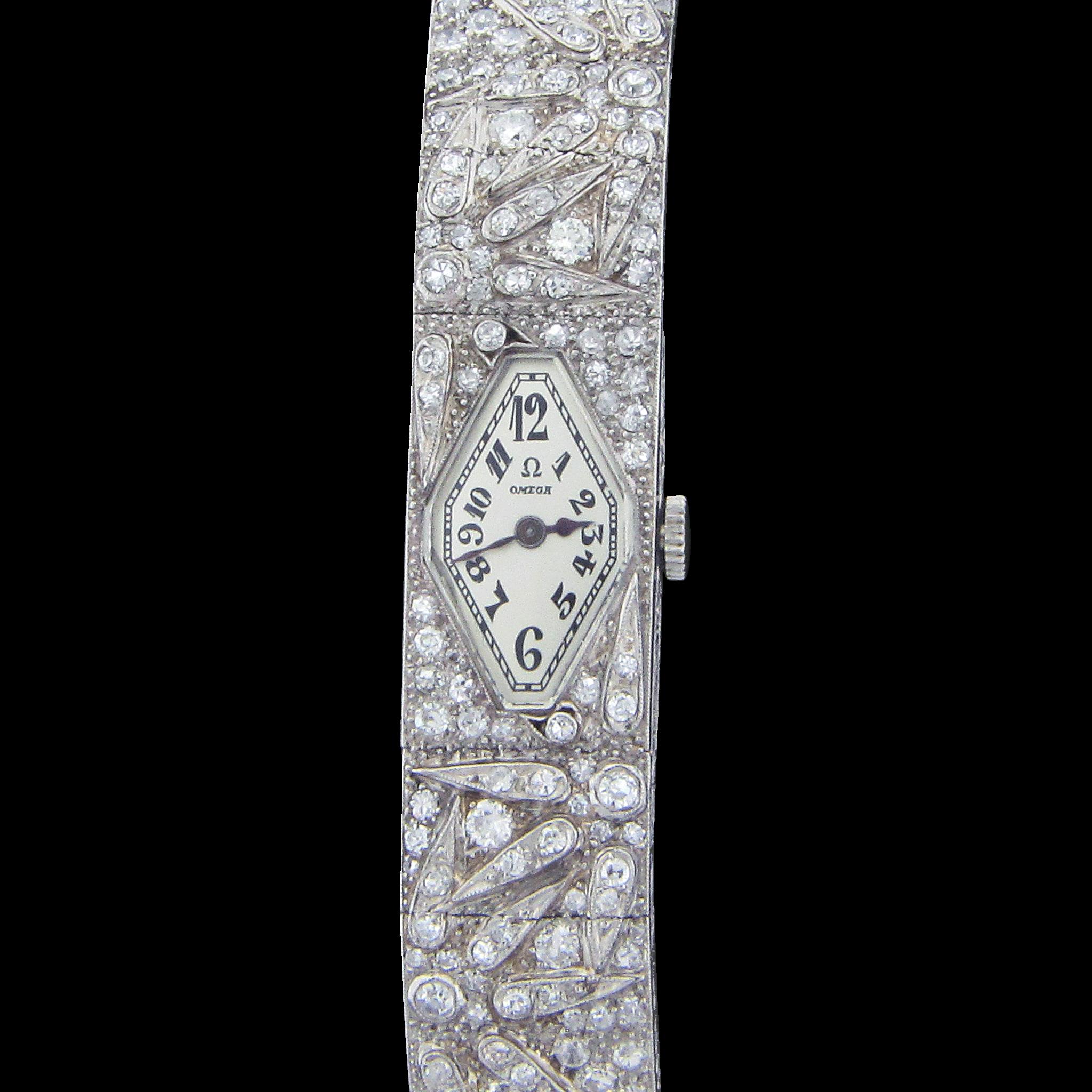 Swiss Ladies Omega Dress Wrist Watch with 135 Diamonds