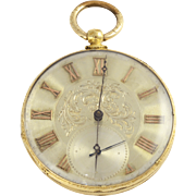 18K Yellow Gold Swiss Pocket Watch by M J Tobias