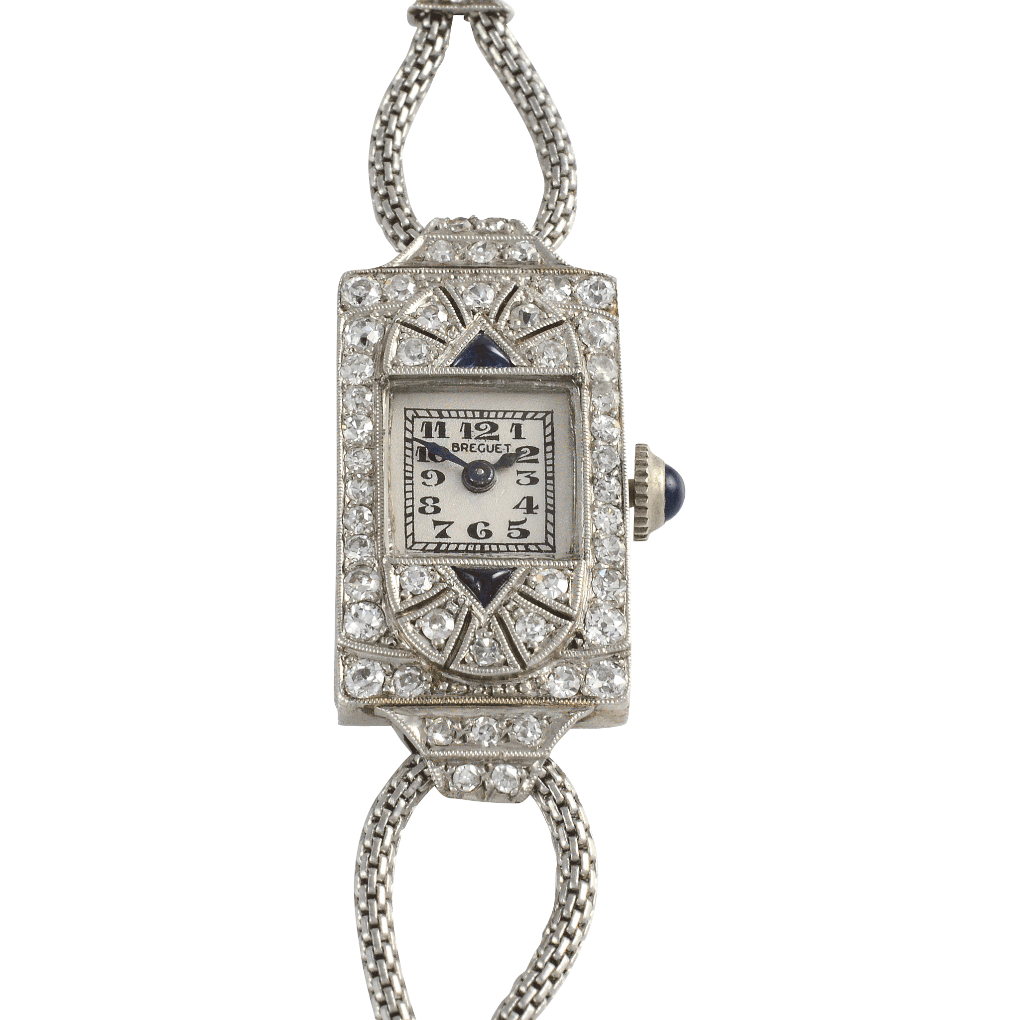 Swiss Ladies Platinum, Diamond and Sapphire Wrist Watch by Breguet
