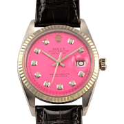 Rolex Datejust Perpetual Pink Dial Stainless Steel Wrist Watch