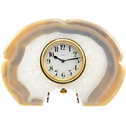 Swiss Brazilian Agate Framed Desk Clock by Gubelin