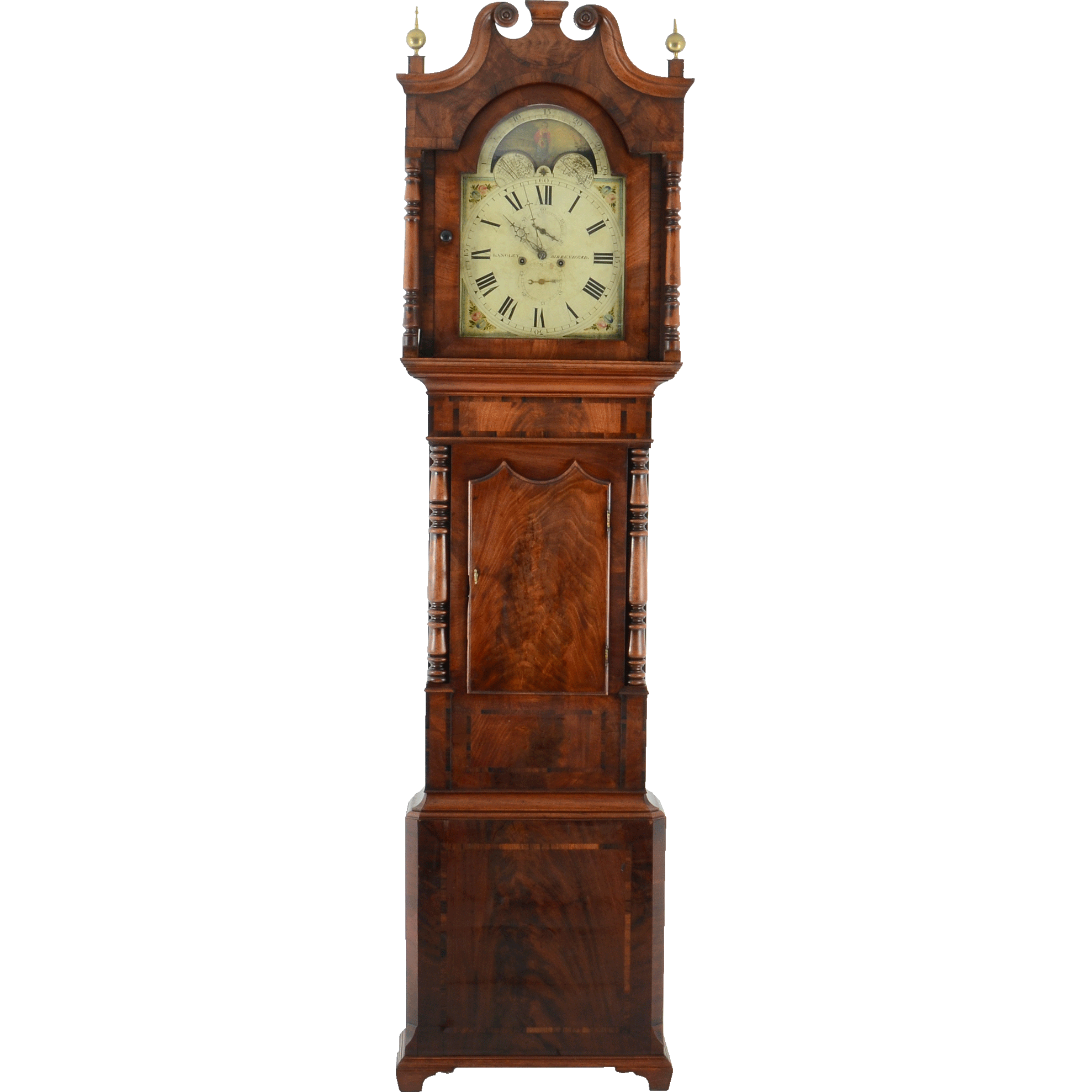 English Mahogany Tall Case Clock Signed Langley Birkenhead