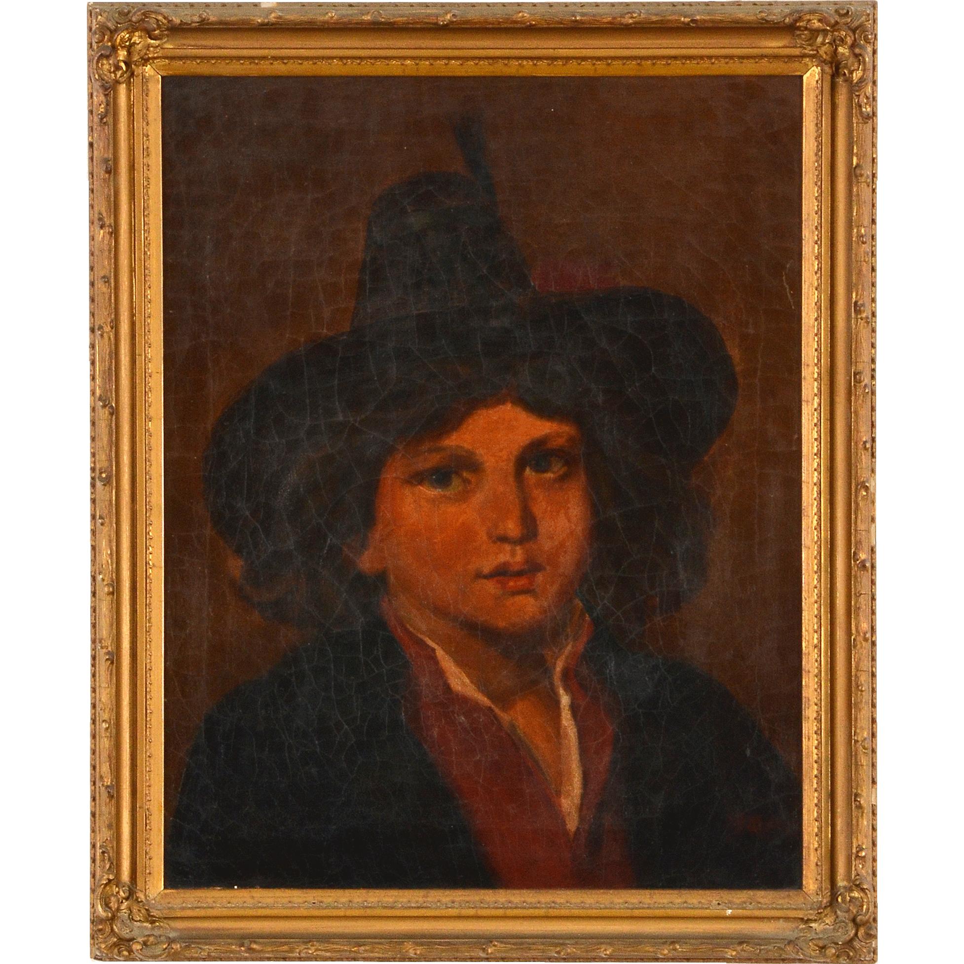 German Oil on Canvas Portrait of a Boy