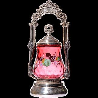 Enameled Etched Cranberry Glass Pickle Castor