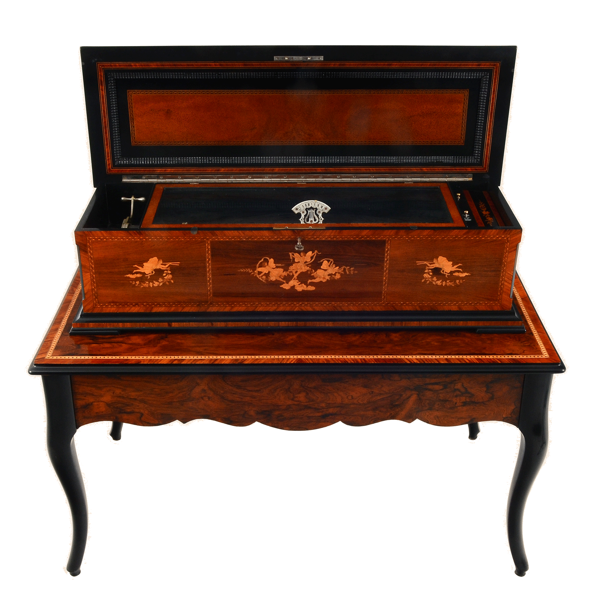 Swiss Cylinder Music Box with Rosewood Case and Table