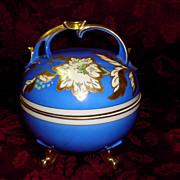 Antique Oscar Schlegelmilch Footed Cracker Jar