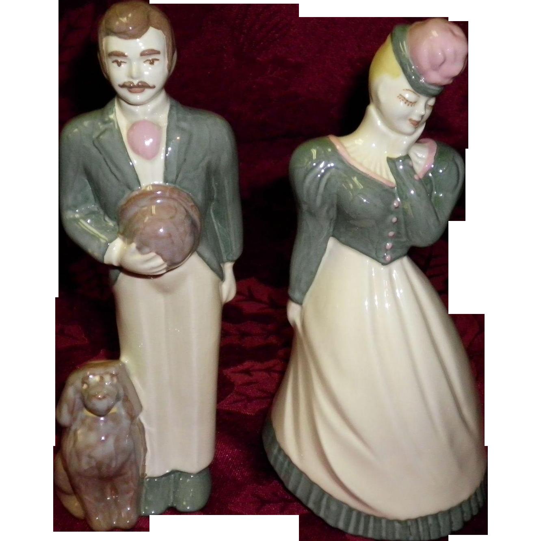 "Ceramic Art Studio Figurines Gay 90's Couple ""Harry & Lilibeth"""