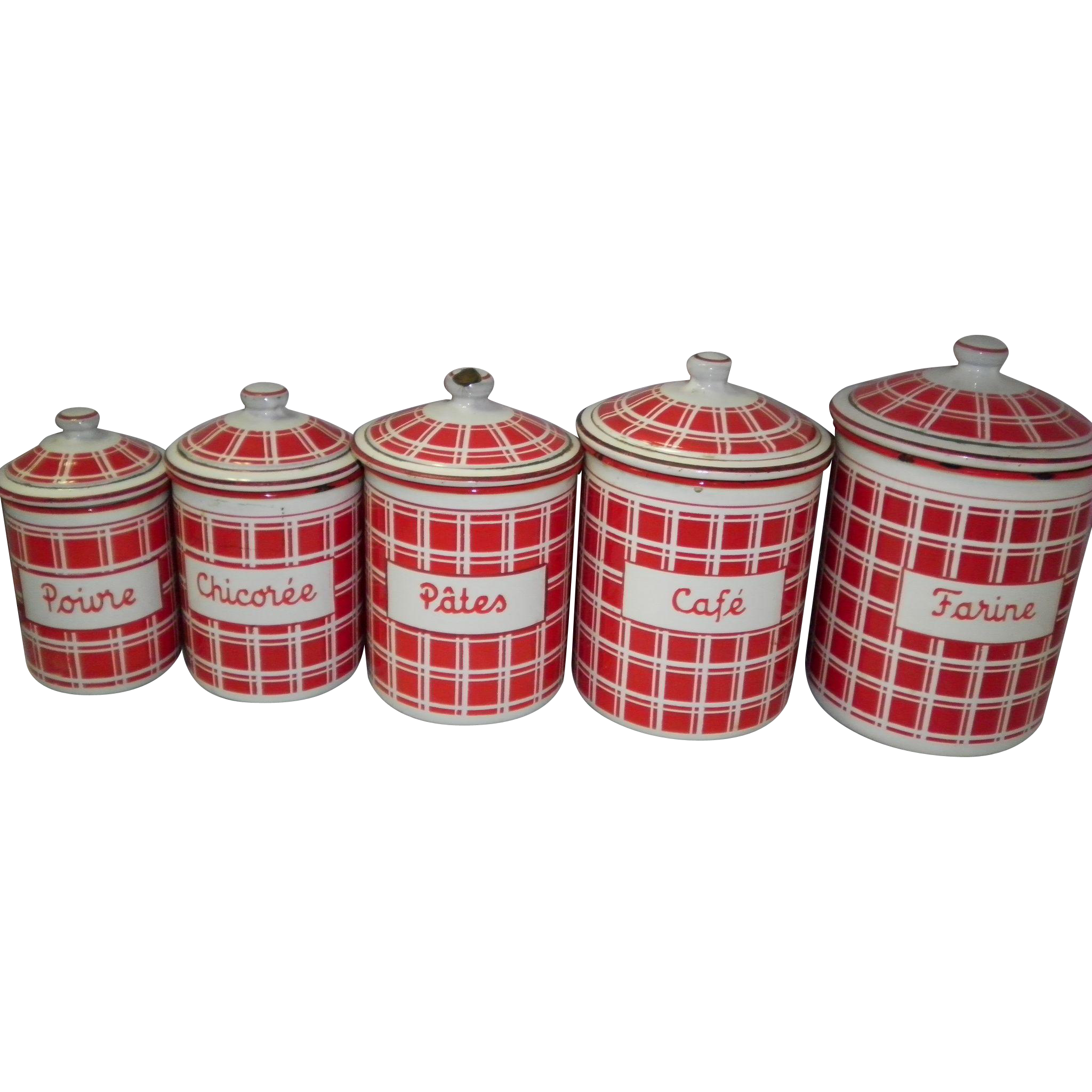 VINTAGE RED & WHITE CHECKERED 5 PIECE FRENCH ENAMEL CANISTER SET