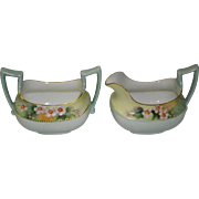 T&V Limoges France Cream And Sugar Bowl