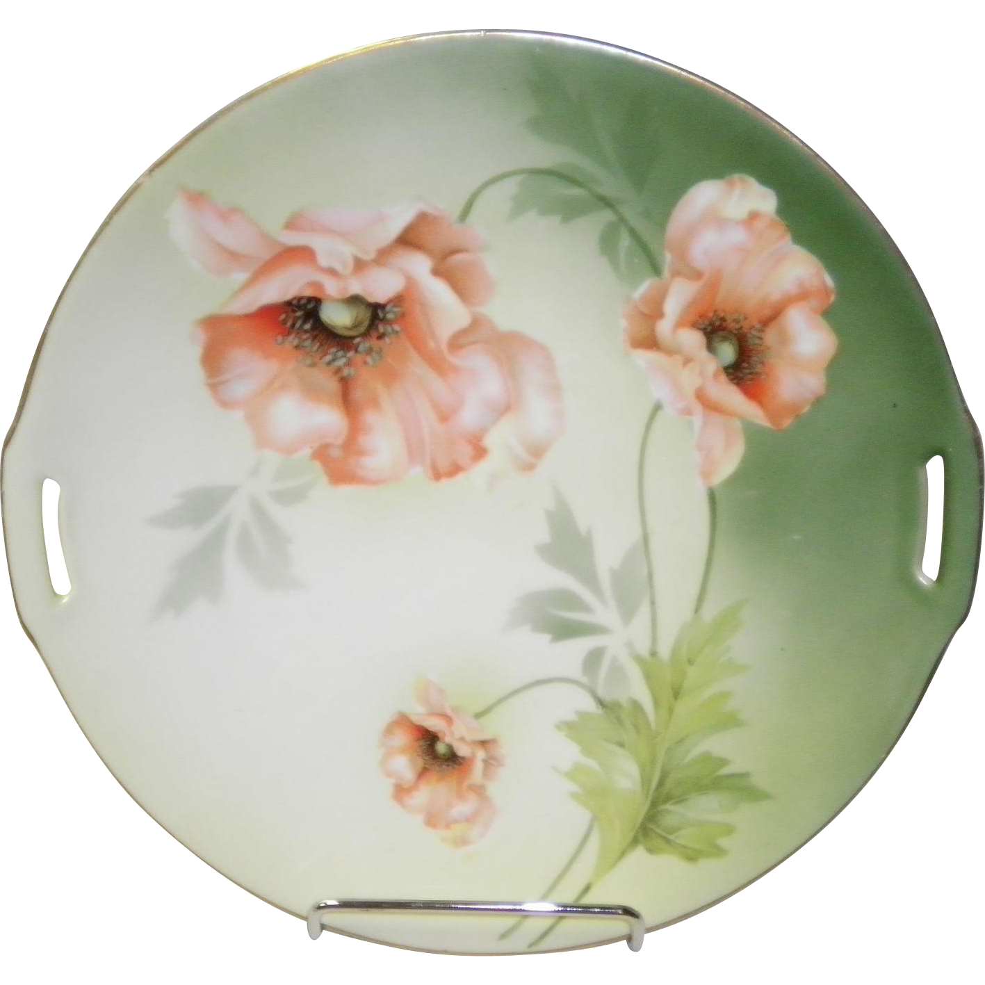 RS Germany 2 Handle Cake Plate with Poppies