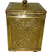 Embossed Brass Tea Caddy w/ Celtic Design
