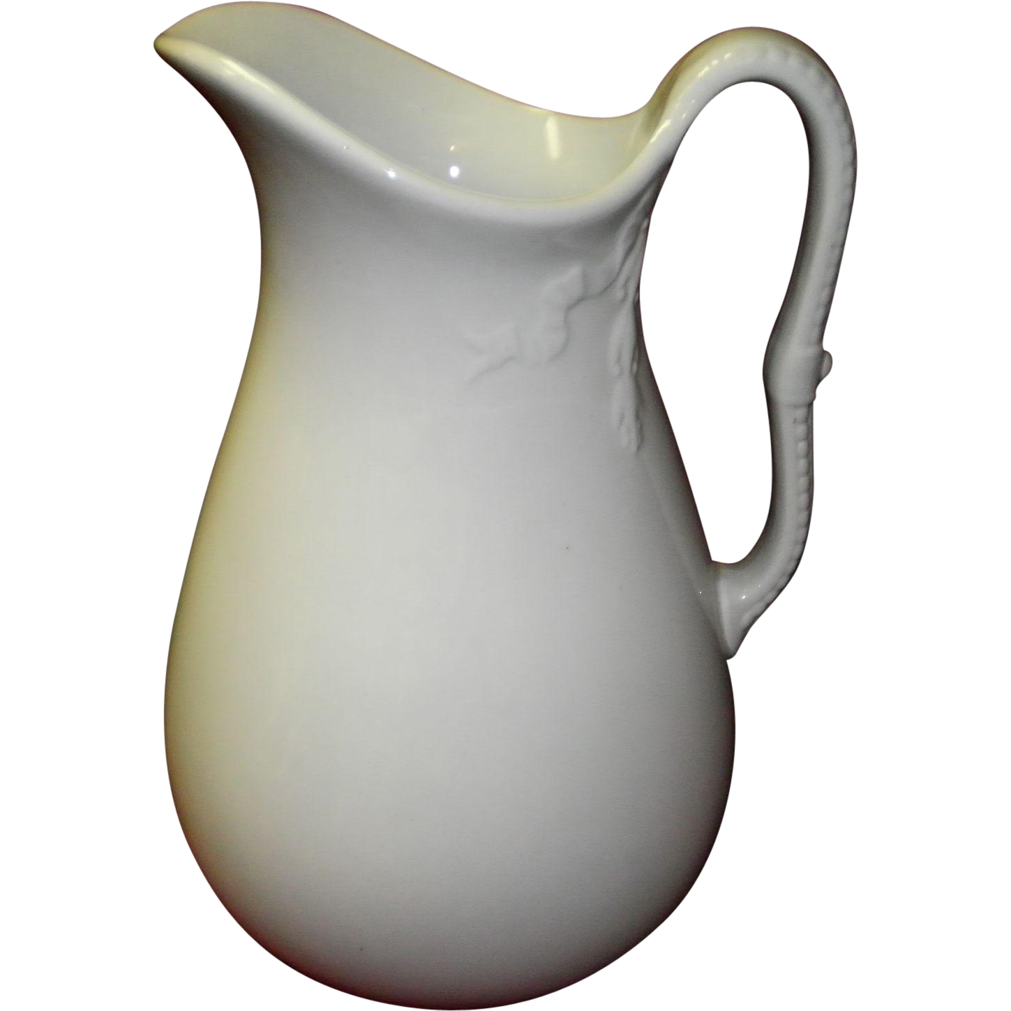 "1800's Antique J & G Meakin Ironstone ""Chain Of Tulips"" Wash Pitcher"