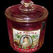 Vintage La Palina Glass Humidor Store Display Advertising Jar