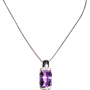 14Kt White Gold Amethyst And Diamond Necklace