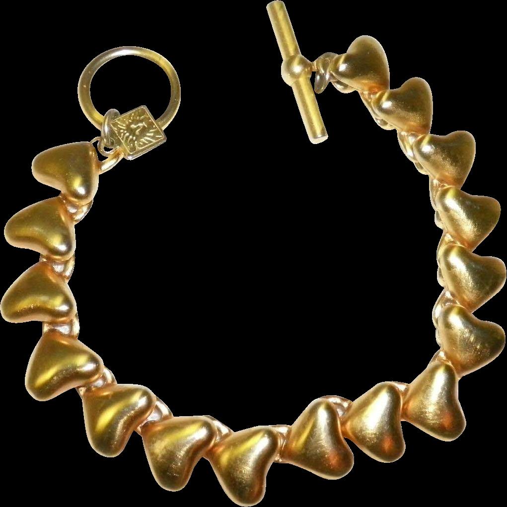 Anne Klein Gold Tone Heart Bracelet