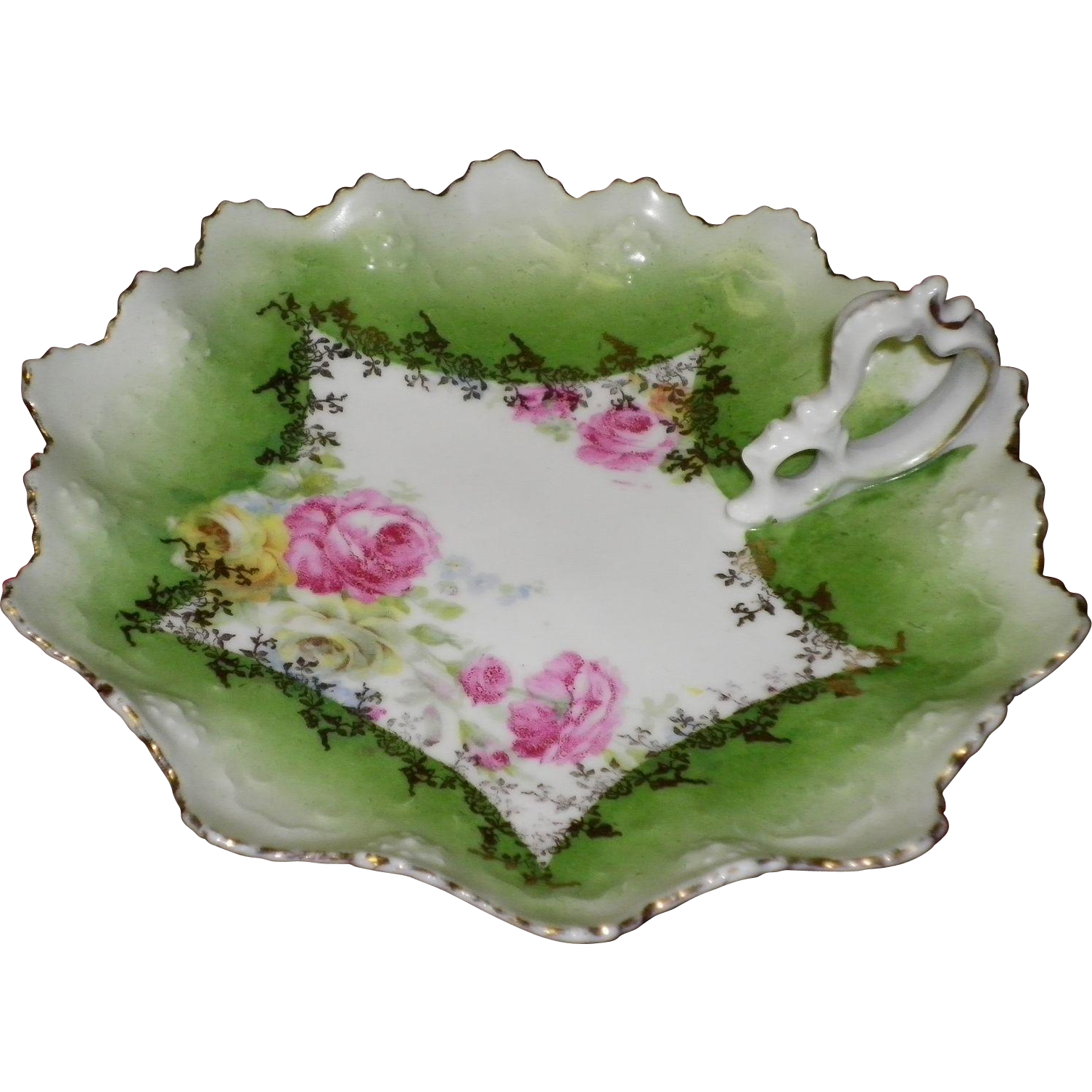Green Floral Nappy / Dish