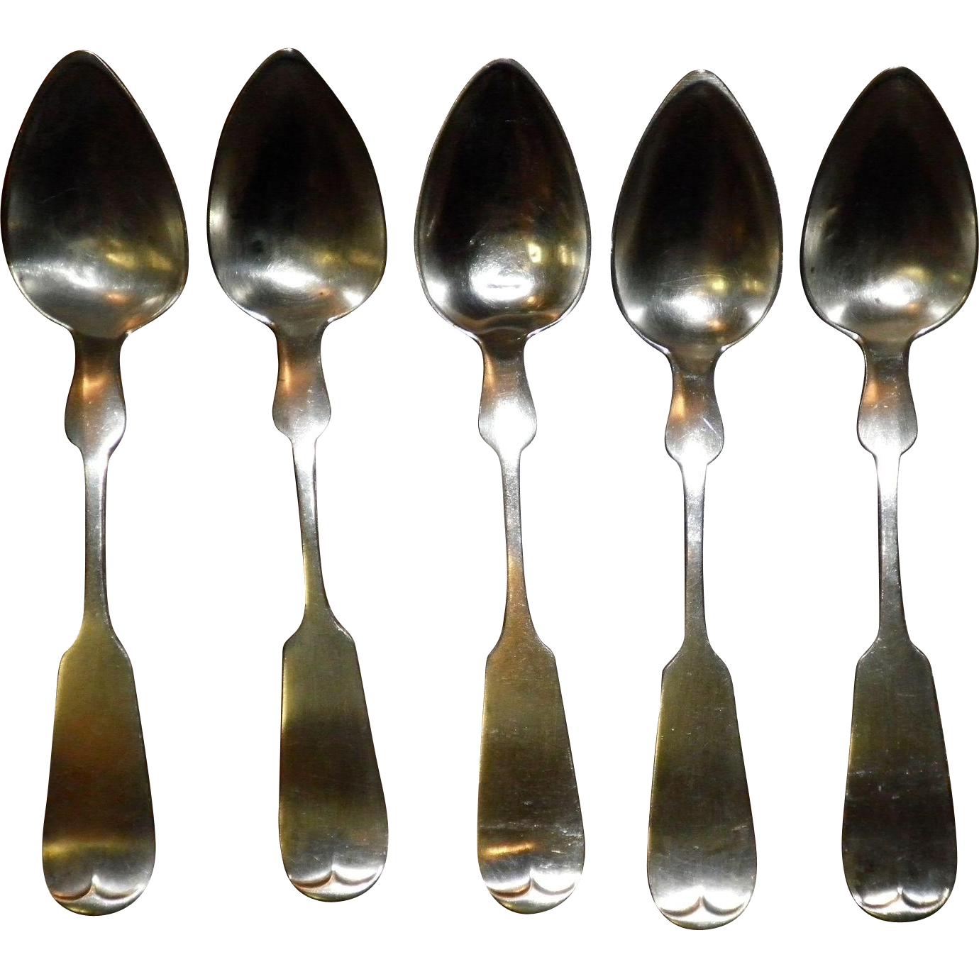 Set Of 5 Coin Silver Spoons C & J Vanhouten