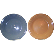 Set Of 2 Fiesta Dinner Plates Periwinkle & Apricot