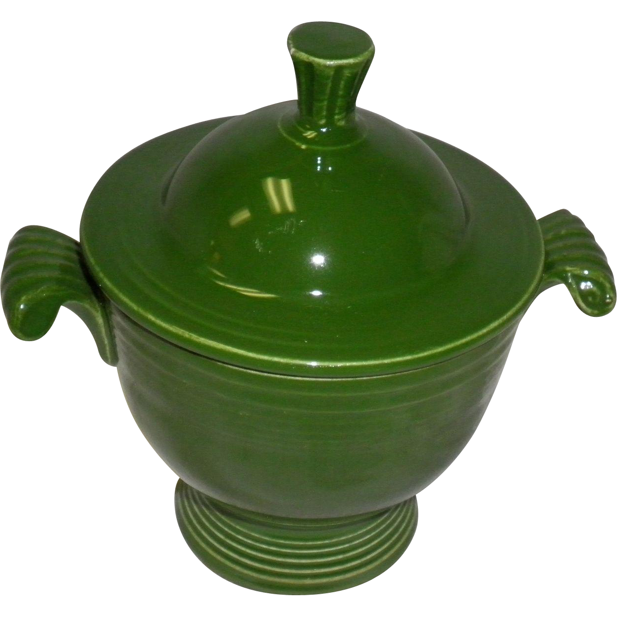 Vintage Fiesta Forest Green Sugar Bowl Base with Lid