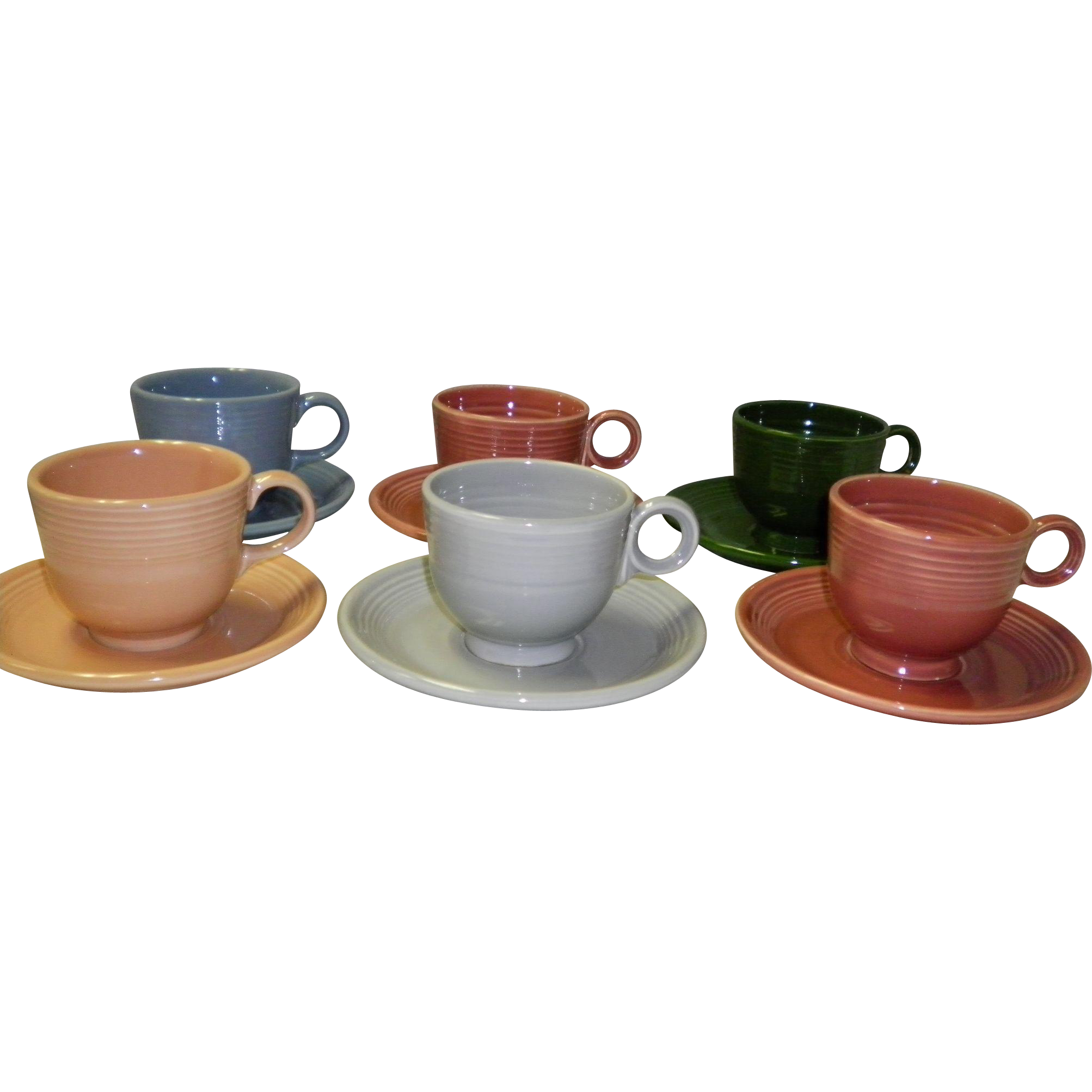 Set Of 6 Fiesta Cups & Saucers
