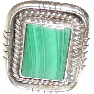 Sterling Silver Malachite Ring Size 7 Artist Signed
