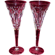 """Pair Of Waterford Crystal """"Love toasting"""" Champagne Flutes"""
