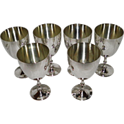 Set Of 6 Silverplate Goblets William Adams Italy