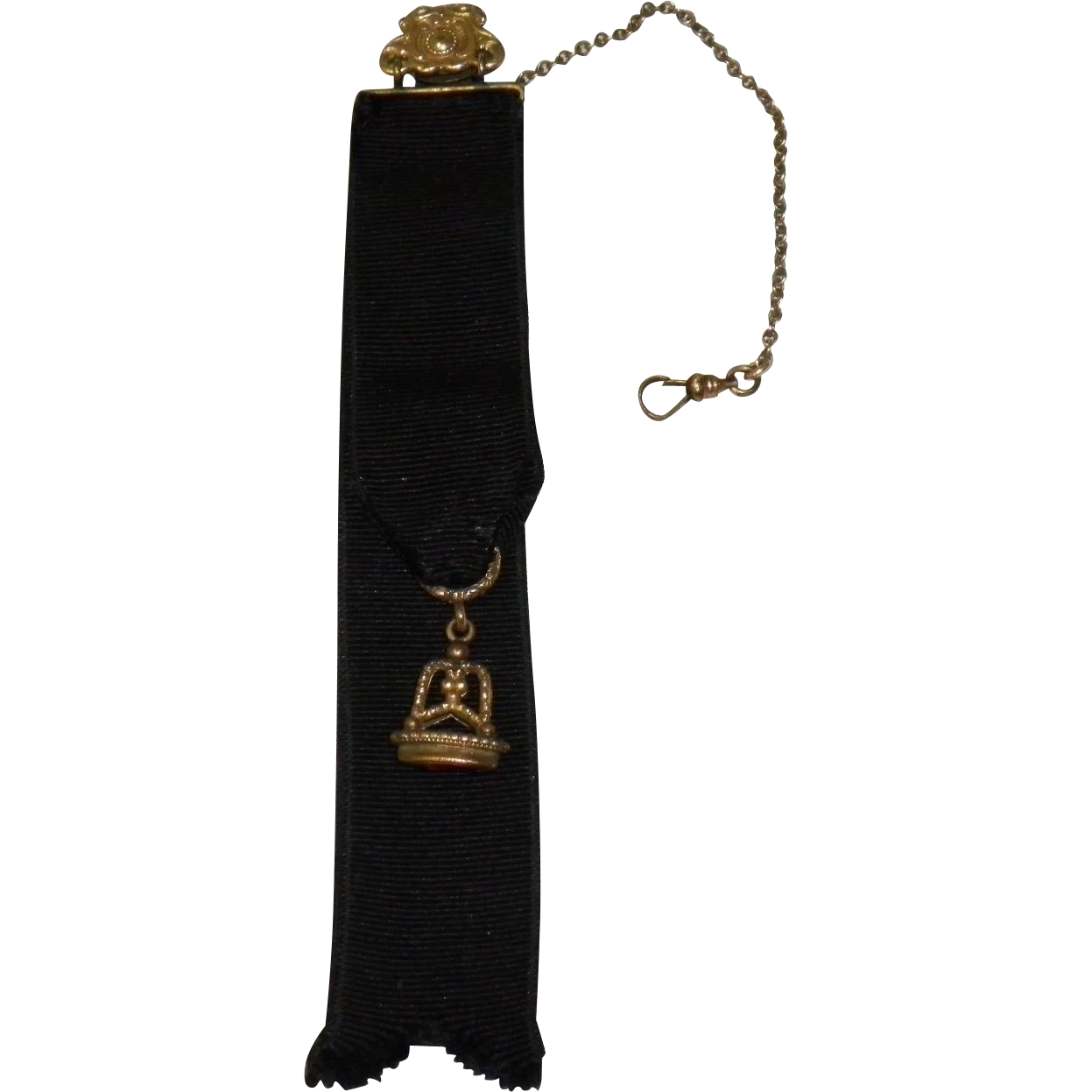 Victorian Watch Chain Fob On Grosgrain Ribbon With Red Stone