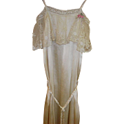 Victorian Ivory Silk Evening Gown Size XS