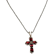 925 Sterling Silver And Garnet Cross Made In Italy