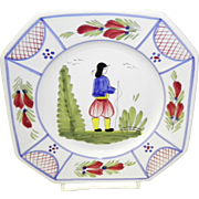 """Henriot Quimper 7 3/4"""" Salad Plate With Boy Holding A Rod"""