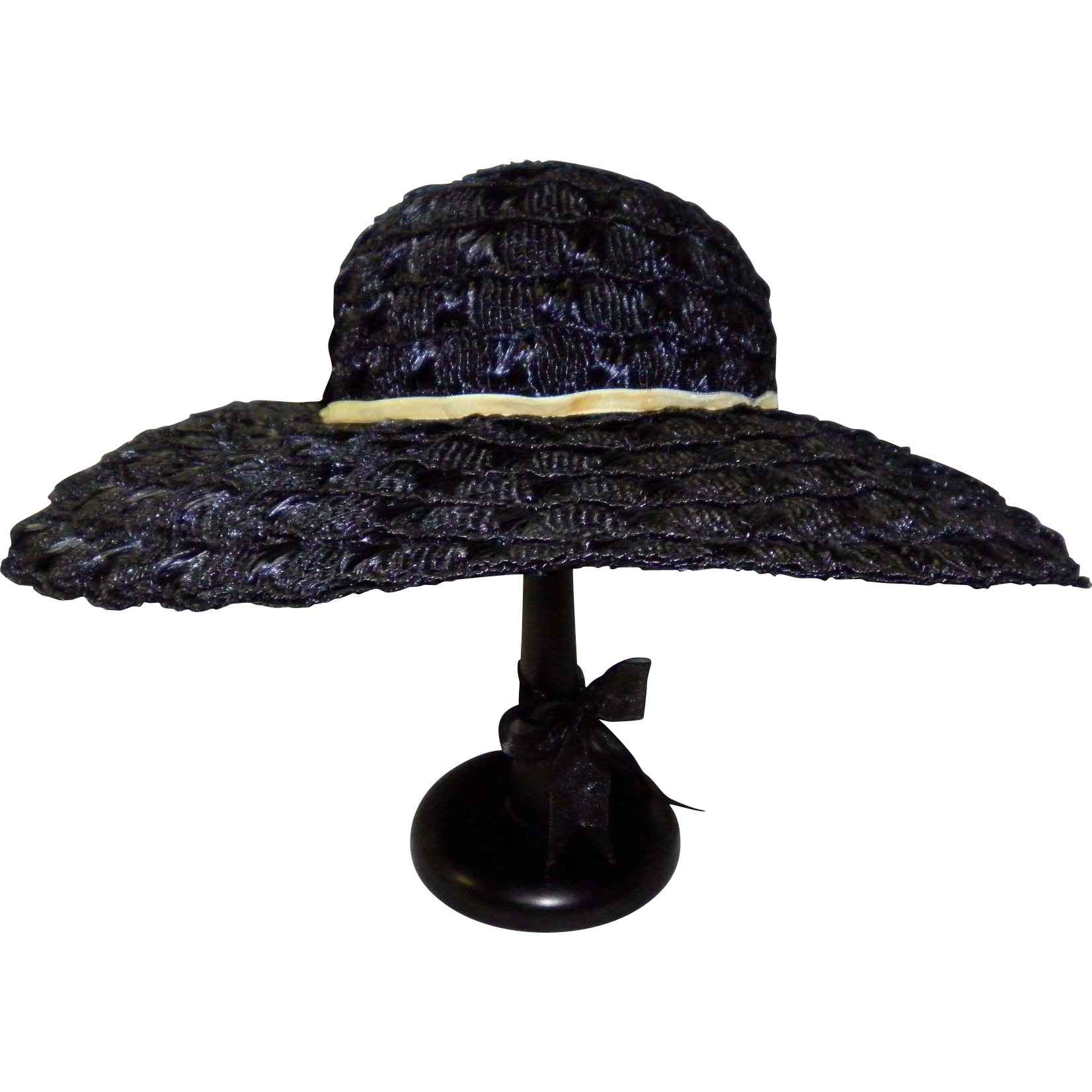 Vintage Navy Blue Woven Straw Hat By Mr. John Jr