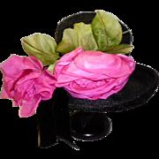 Vintage 1940's Black Floral Straw Hat
