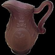 Fostoria Satin Amethyst Glass Jenny Lind Cameo Pitcher