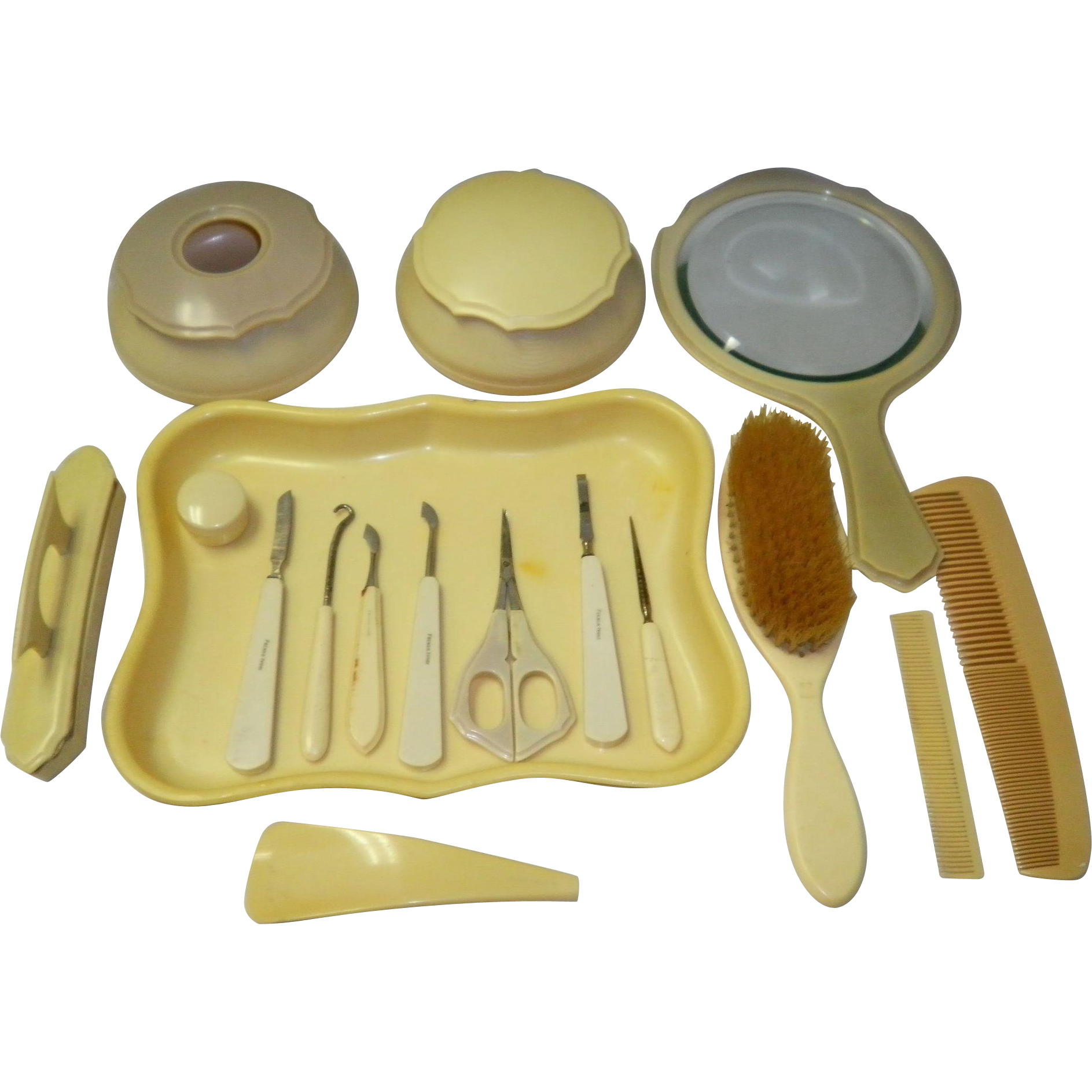 17 Piece French Ivory Celluloid Vanity / Dresser Set