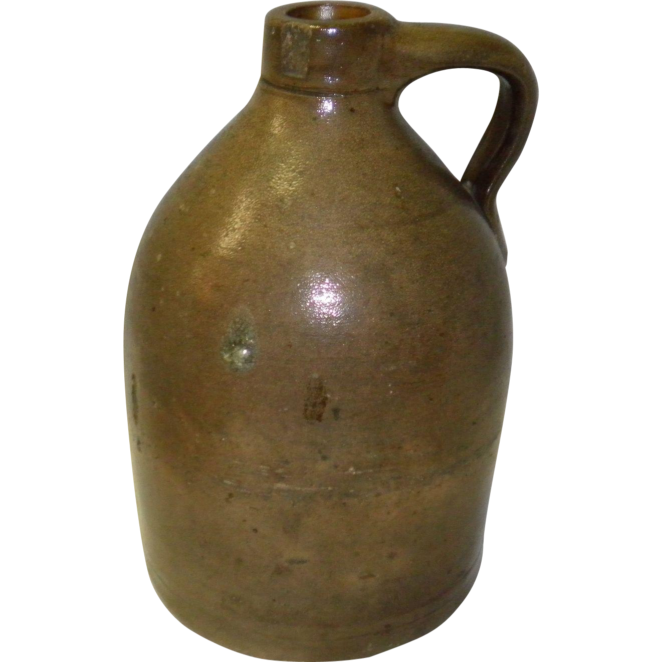 Antique Brown Stoneware Jug-With Turkey Dropping
