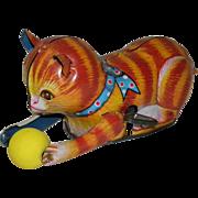 Vintage Tin Litho Key Wind-Up Cat Chasing Ball