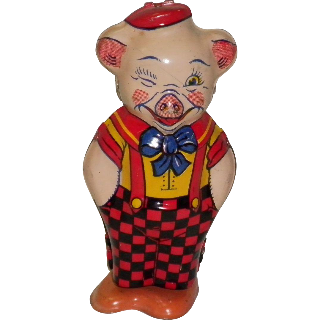 Vintage Tin Litho Key Wind-Up Pig By J. Chein