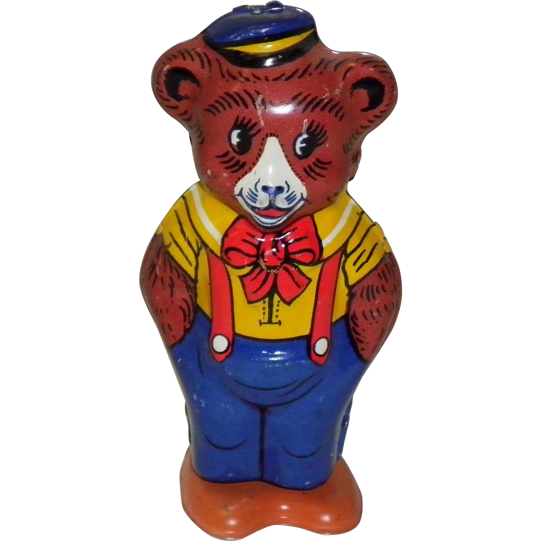 Vintage Tin Litho Key Wind-Up Bear By J. Chein