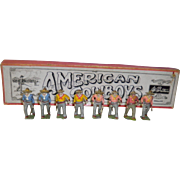 8 Hand Painted Lead American Cowboy Figures In Original Box W. Britain