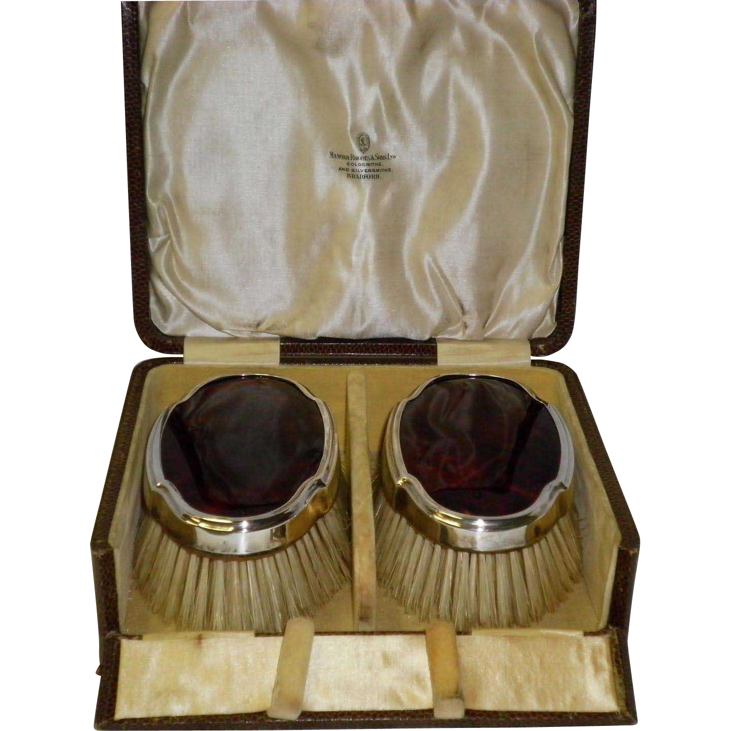 Antique Sterling Silver & Tortoiseshell Clothes Brushes In Original Case By Manoah Rhodes & Sons LTD